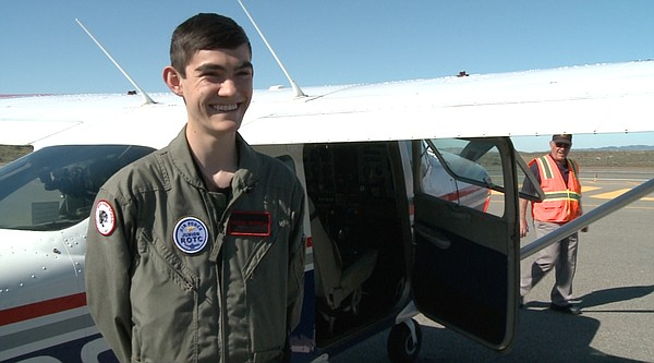 Junior ROTC cadet, Jared Treadwell, at Fallbrook AirPark,...