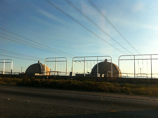 The San Onofre nuclear power plant is shown from Intersta...