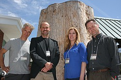 """Speakers William Stranger, Stranger Furniture; Peter Tittmann, academic </p><br /> <p>coordinator UC Berkeley Center for Forestry; Jennifer Alger, Far West </p><br /> <p>Forest Products and Wood-Mizer; and Jeff Reimer, technician Cal Poly State </p><br /> <p>SLO seen at the """"Urban Woods"""" conference held at Palomar College. April 3rd, 2105<br /><br />"""