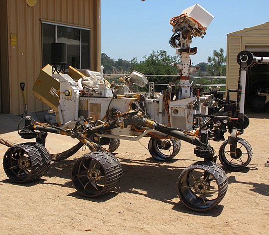 A rover in the Jet Propulsion Laboratory Mars Yard.