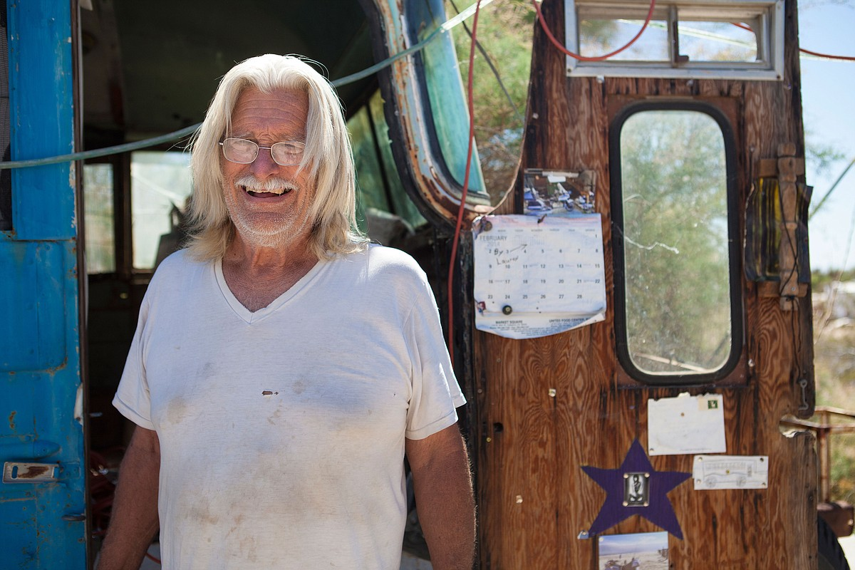 "A portrait of William Ammon, who goes by ""Builder Bill,"" March 28, 2015. He is helping lead the effort to purchase Slab City land from the state of California."