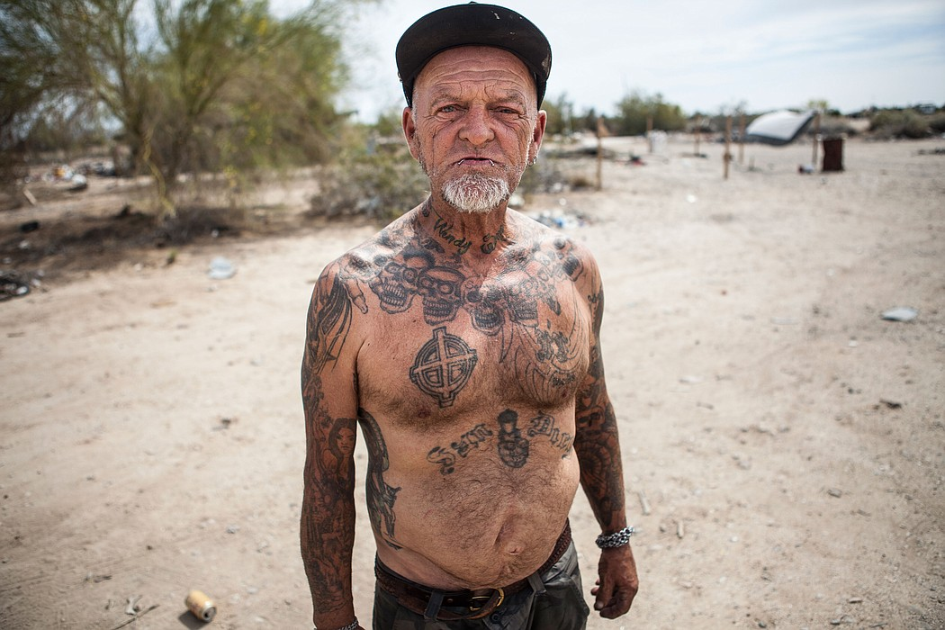 ... A Slab City resident poses for the camera, March 28, 2015.