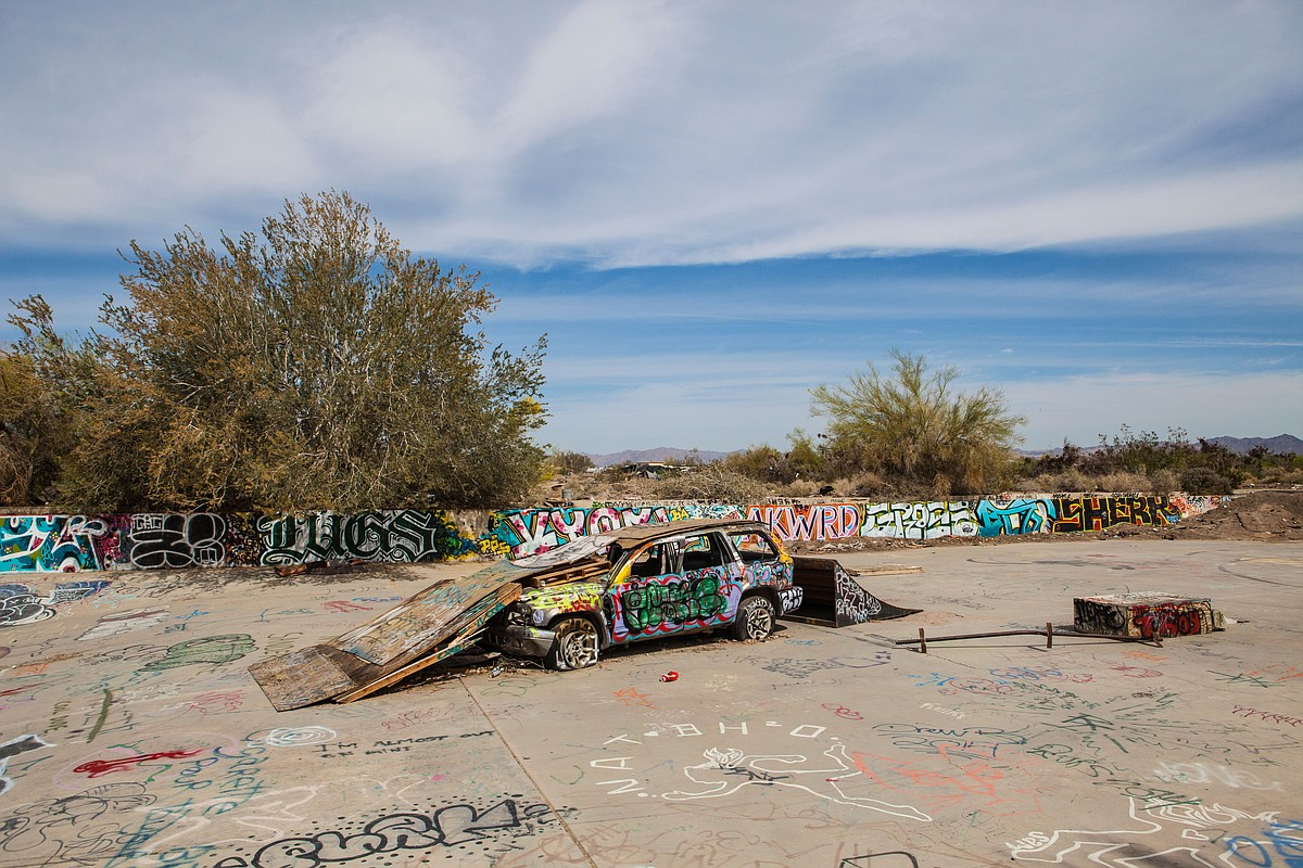 A car serves as the foundation for the Slab City skateboarding park, March 28, 2015.