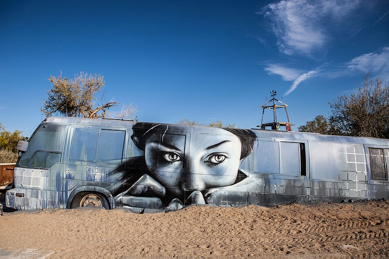 An artwork painted on a side of a bus by the East Jesus sculpture garden, Mar...