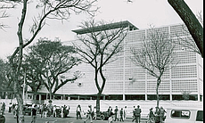 The U.S. Embassy in Saigon is shown in this und...