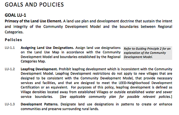 San Diego County's Land Use Policy LU 1.2 which prohibits...
