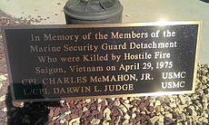 A plaque honors Cpl. Charles McMahon and Lance ...
