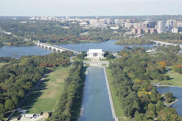 The Lincoln Memorial, seen from the Washington Monument.
