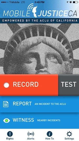 A screenshot of the Mobile Justice California iPhone app.