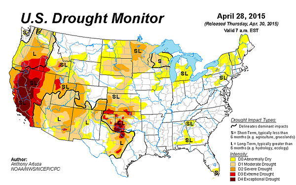 This color-coded map shows drought conditions across the U.S., on April 30, 2...