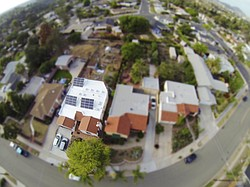 A aerial photograph taken April 21, 2015 shows a rubber coating on the roof of Jamie Edmonds' El Cerrito home.