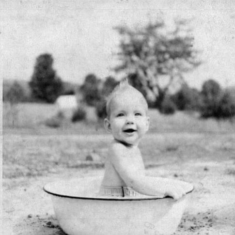 Sherri Lightner as a baby in a tub in Warren, P...