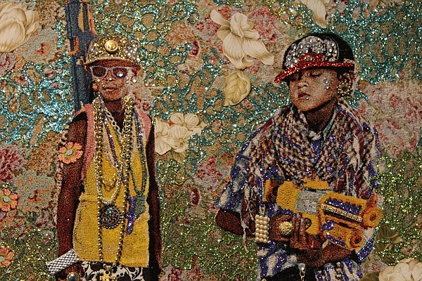 A detail from Ebony Patterson's tapestry titled