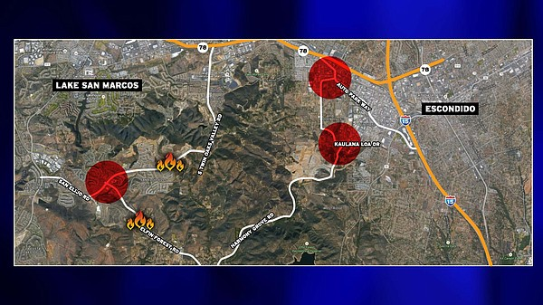 A map of the evacuation routes affected by the Cocos Fire...
