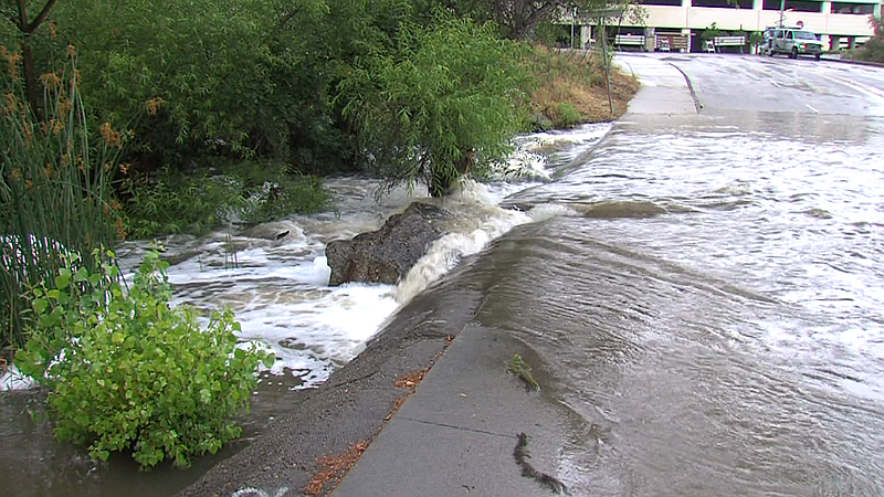 Record rainfall causes flooding in Mission Valley, May 15, 2015.