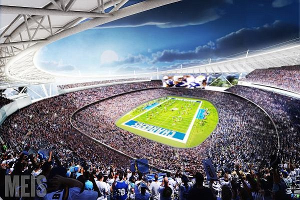 A rendering of the proposed Chargers stadium in Mission V...