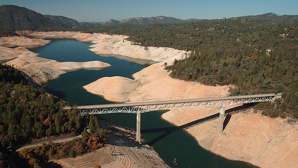 Lake Oroville, the State Water Project's principal water source, sits less th...