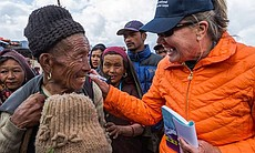 Scripps Health nurse Jan Zachry is pictured interacting with a Nepal earthquake victim.