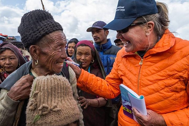 Scripps Health nurse Jan Zachry is pictured interacting with a Nepal earthqua...