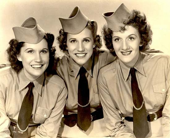 The Andrews Sisters sing their 1940s hits