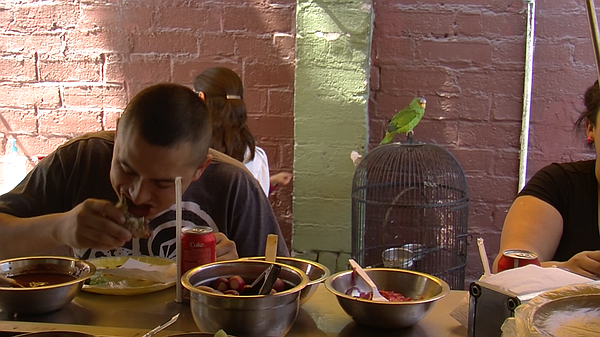 Clients eat tacos at Tacos Memo's, also known as Parrot T...