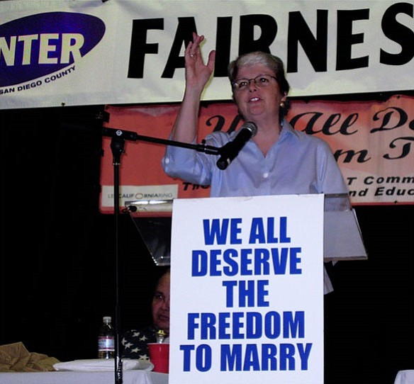 Christine Kehoe speaking at a marriage equality rally at ...