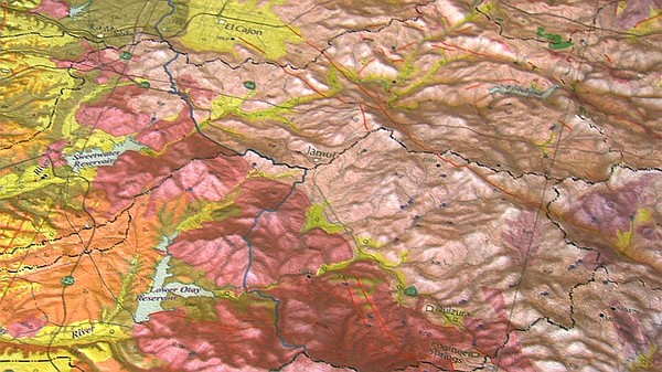 A relief map in the USGS office in San Diego,  The pictur...