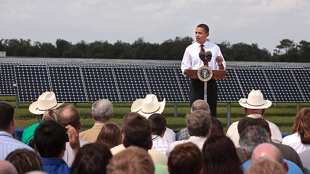 President Obama announcing $3.4 billion in stimulus funds to modernize the electric grid, Oct. 27, 2009.