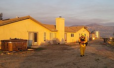 A firefighter inspects the scene at a house tha... (59020)