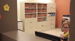 Patient records are pictured at the City Heights Family Health Center in 2013.
