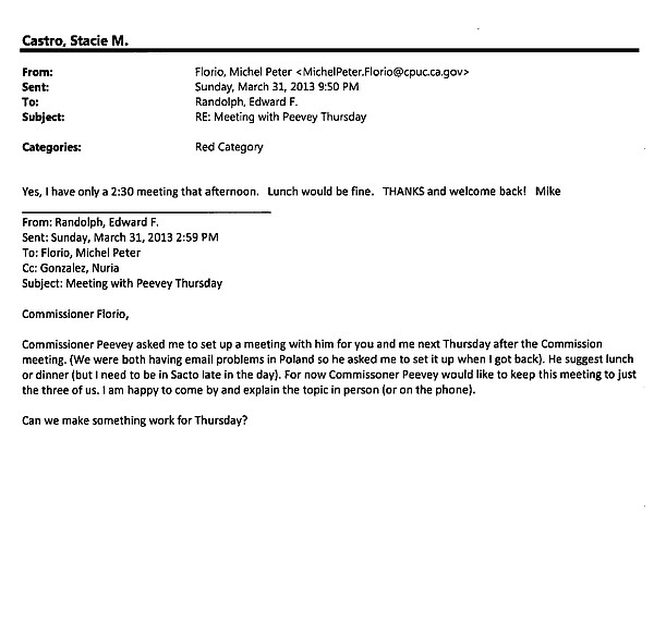 An email details efforts to set up a lunch or dinner between then-PUC Preside...