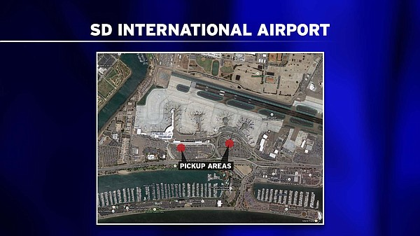 An aerial view of the San Diego International Airport sho...