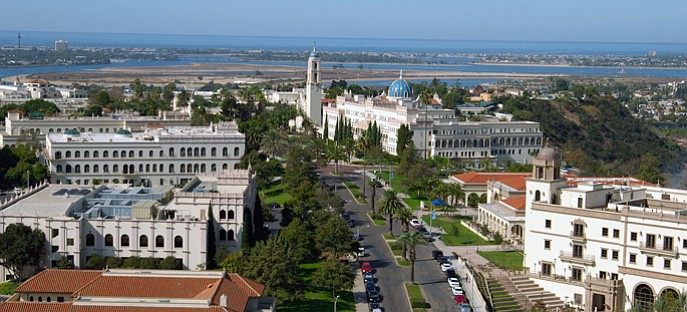 An aerial view of the University of San Diego campus is pictured in this unda...