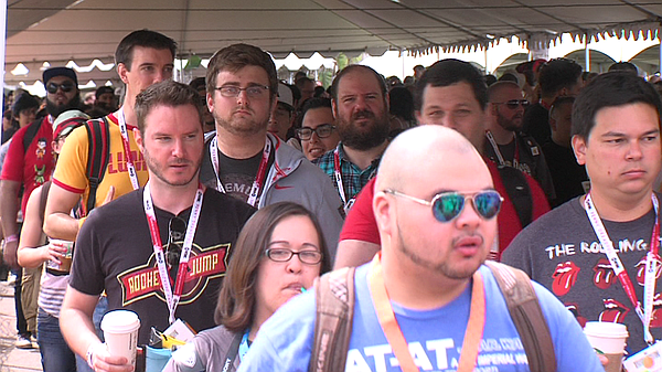 Comic-Con attendees wait in line July 10, 2015.