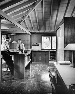 Architects Robert Mosher and partner Roy Drew at the Mosher and Drew offices ...
