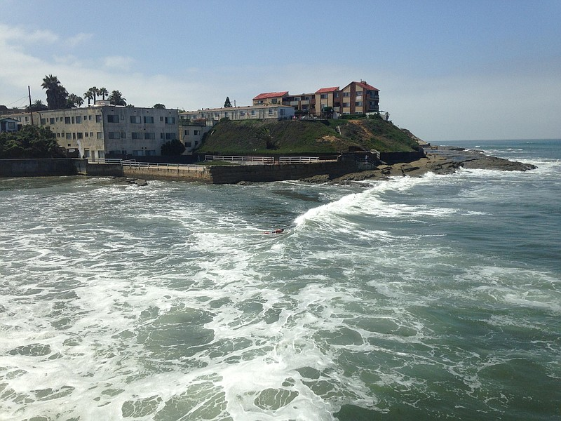 Waves as seen from the Ocean Beach pier, July 29, 2015.