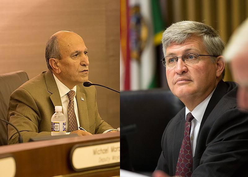 Escondido Mayor Sam Abed, left, and San Diego County Supervisor Dave Roberts,...