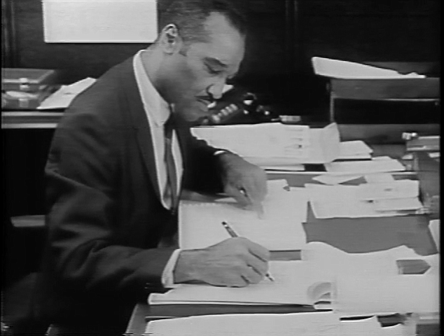 Leon Williams is shown in his San Diego City Council office in 1969.