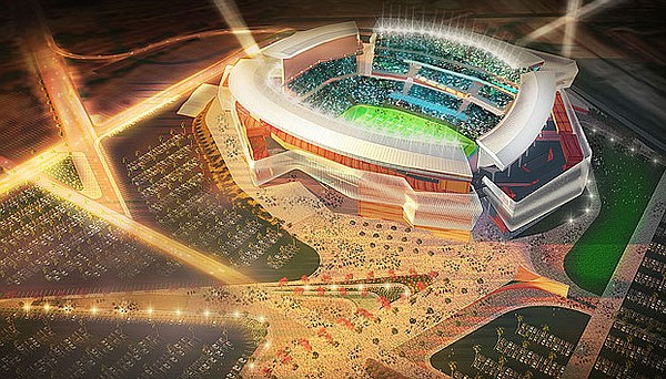 An aerial view of a proposed NFL stadium for San Diego.