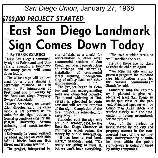 A clipping dated Jan. 27, 1968 shows a San Diego Union Tr...