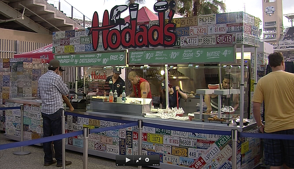 Hodad's burger stand pictured at Petco Park in their Park...