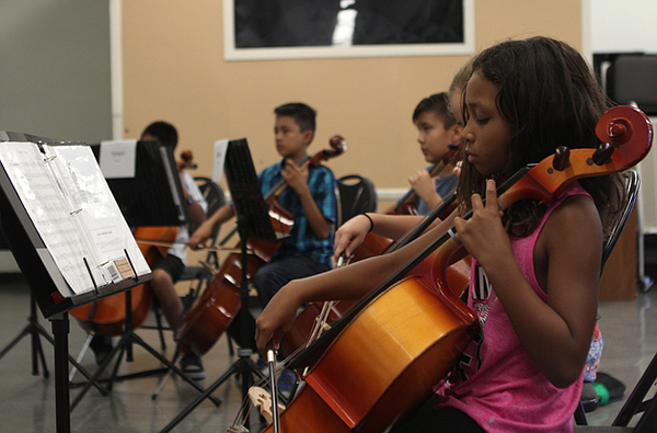 Students at Kellogg Elementary in Chula Vista, California, practice music aft...