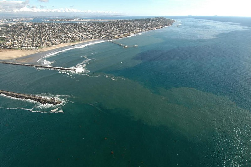 The San Diego River emptying out into the Pacific Ocean in this undated photo.