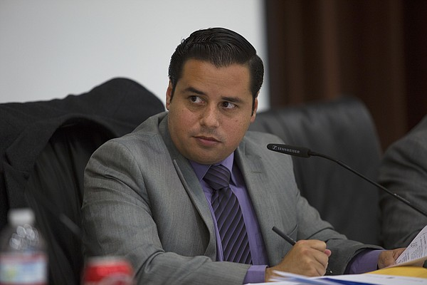 Antonio Martinez presides over a San Ysidro Board Meeting on Sept. 14, 2015. ...