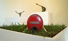 "A photograph of artist Margaret Noble's sound sculpture, ""I Have Arrived,"" is..."