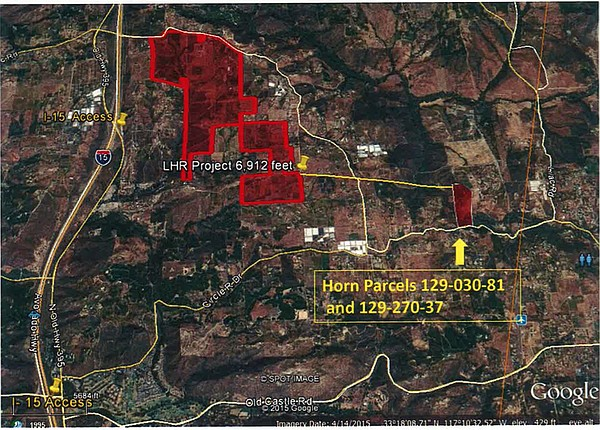 Map of the location of Supervisor Bill Horn's property in...