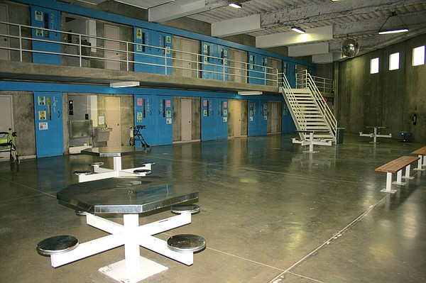 A common area for inmates in D block at Donovan State Prison, Sept. 2015.