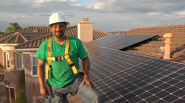 Phil Salas, project manager for the solar panel installation company Home Ene...