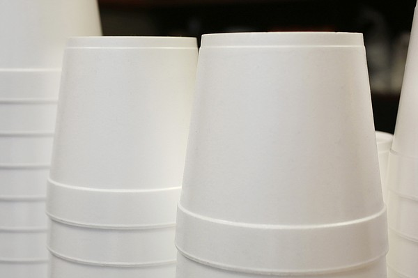Foam soup containers are stacked in a New York restaurant...