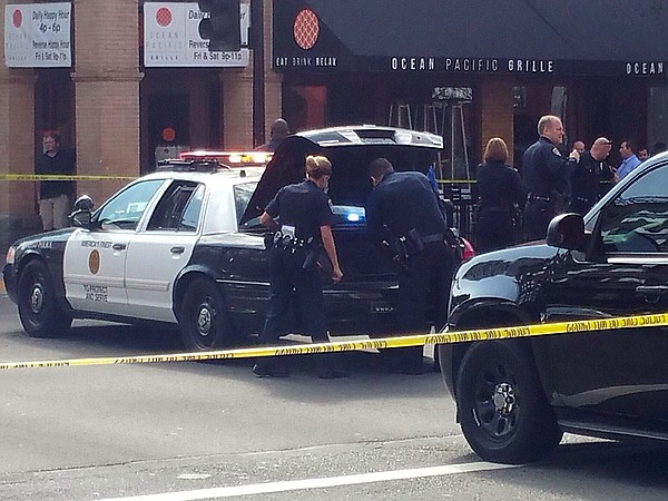 San Diego police investigate an officer-involved shooting...
